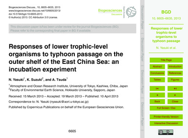 Responses of Lower Trophic-level Organis... by Yasuki, N.