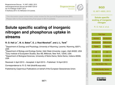 Solute Specific Scaling of Inorganic Nit... by Hall Jr., R. O.