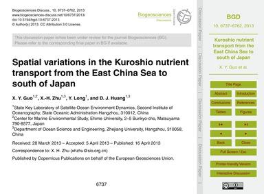 Spatial Variations in the Kuroshio Nutri... by Guo, X. Y.