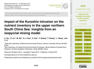 Impact of the Kuroshio Intrusion on the ... by Du, C.
