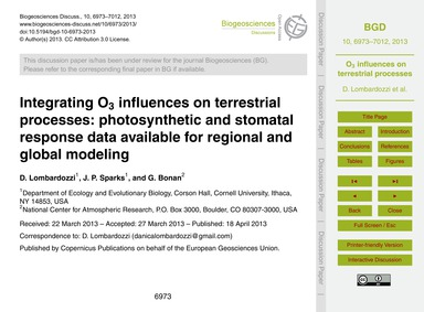 Integrating O3 Influences on Terrestrial... by Lombardozzi, D.