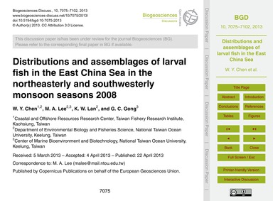Distributions and Assemblages of Larval ... by Chen, W. Y.