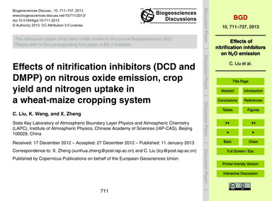Effects of Nitrification Inhibitors (Dcd... by Liu, C.