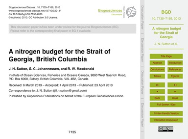 A~nitrogen Budget for the Strait of Geor... by Sutton, J. N.