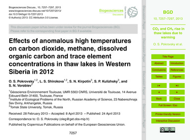 Effects of Anomalous High Temperatures o... by Pokrovsky, O. S.