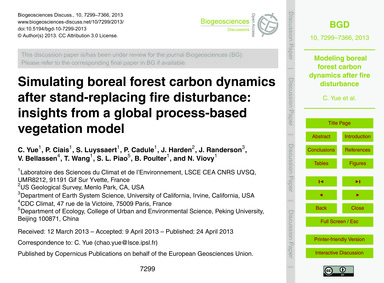 Simulating Boreal Forest Carbon Dynamics... by Yue, C.