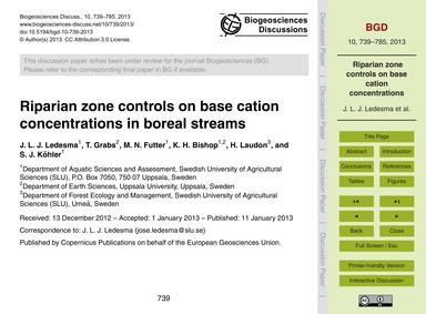 Riparian Zone Controls on Base Cation Co... by Ledesma, J. L. J.