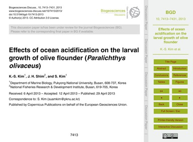 Effects of Ocean Acidification on the La... by Kim, K.-s.