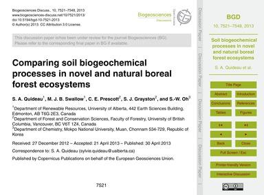 Comparing Soil Biogeochemical Processes ... by Quideau, S. A.
