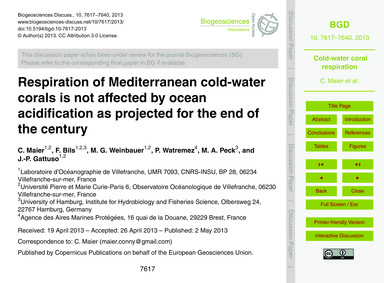 Respiration of Mediterranean Cold-water ... by Maier, C.