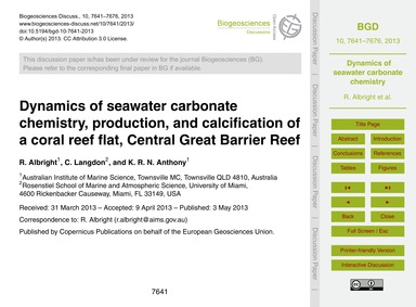 Dynamics of Seawater Carbonate Chemistry... by Albright, R.