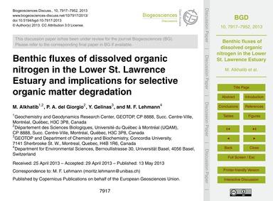 Benthic Fluxes of Dissolved Organic Nitr... by Alkhatib, M.