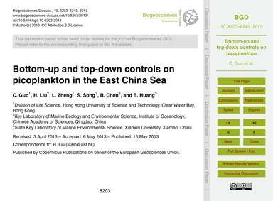 Bottom-up and Top-down Controls on Picop... by Guo, C.
