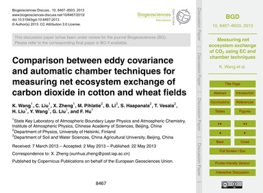 Comparison Between Eddy Covariance and A... by Wang, K.