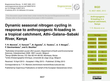 Dynamic Seasonal Nitrogen Cycling in Res... by Marwick, T. R.