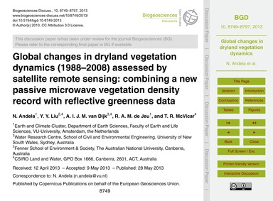 Global Changes in Dryland Vegetation Dyn... by Andela, N.