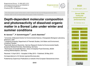 Depth-dependent Molecular Composition an... by Gonsior, M.