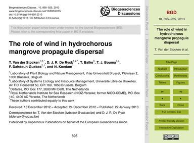 The Role of Wind in Hydrochorous Mangrov... by Van Der Stocken, T.
