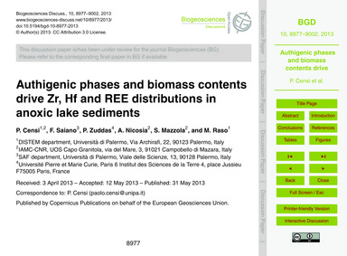 Authigenic Phases and Biomass Contents D... by Censi, P.