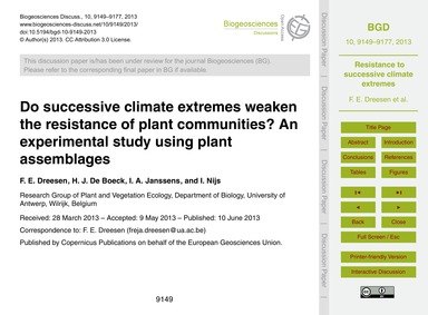 Do Successive Climate Extremes Weaken th... by Dreesen, F. E.