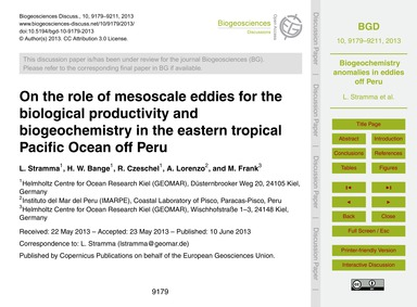 On the Role of Mesoscale Eddies for the ... by Stramma, L.