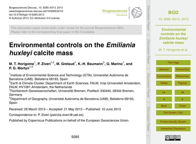 Environmental Controls on the Emiliania ... by Horigome, M. T.