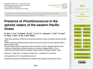 Presence of Prochlorococcus in the Aphot... by Jiao, N.