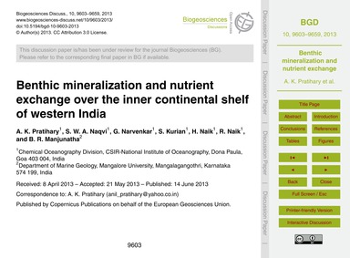 Benthic Mineralization and Nutrient Exch... by Pratihary, A. K.