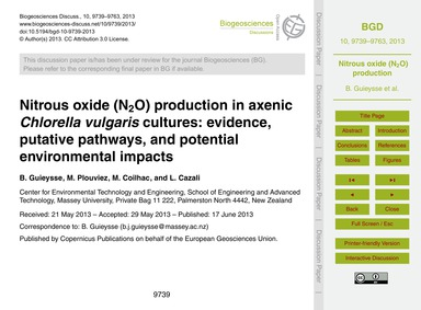 Nitrous Oxide (N2O) Production in Axenic... by Guieysse, B.