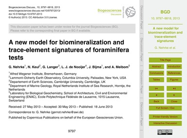 A New Model for Biomineralization and Tr... by Nehrke, G.