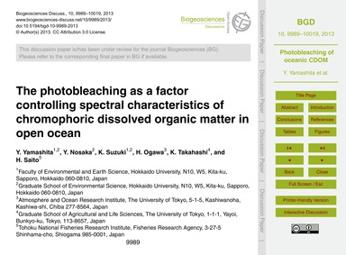 The Photobleaching as a Factor Controlli... by Yamashita, Y.