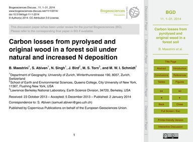 Carbon Losses from Pyrolysed and Origina... by Maestrini, B.