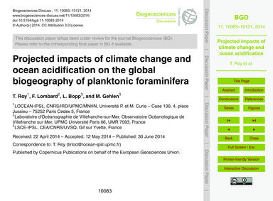 Projected Impacts of Climate Change and ... by Roy, T.