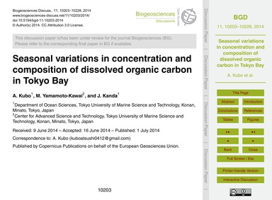 Seasonal Variations in Concentration and... by Kubo, A.