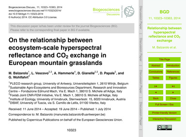 On the Relationship Between Ecosystem-sc... by Balzarolo, M.