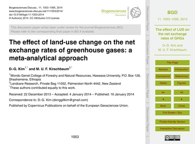 The Effect of Land-use Change on the Net... by Kim, D.-g.