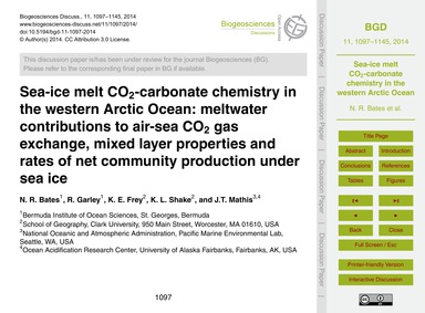 Sea-ice Melt Co2-carbonate Chemistry in ... by Bates, N. R.