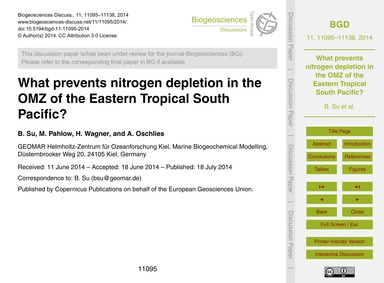 What Prevents Nitrogen Depletion in the ... by Su, B.