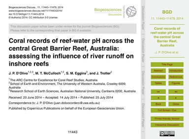 Coral Records of Reef-water Ph Across th... by D'Olivo, J. P.