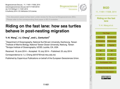 Riding on the Fast Lane: How Sea Turtles... by Wang, Y.-h.