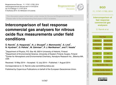 Intercomparison of Fast Response Commerc... by Rannik, Ü.