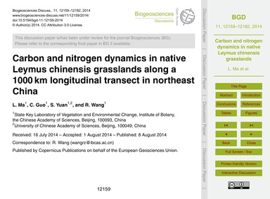 Carbon and Nitrogen Dynamics in Native L... by Ma, L.
