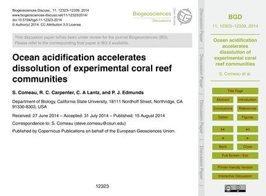 Ocean Acidification Accelerates Dissolut... by Comeau, S.