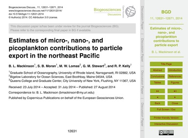 Estimates of Micro-, Nano-, and Picoplan... by MacKinson, B. L.