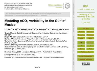 Modeling PCo2 Variability in the Gulf of... by Xue, Z.