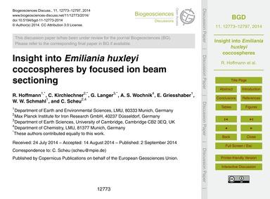 Insight Into Emiliania Huxleyi Coccosphe... by Hoffmann, R.
