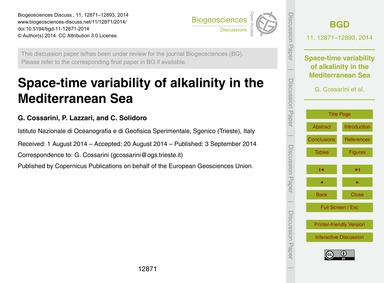 Space-time Variability of Alkalinity in ... by Cossarini, G.