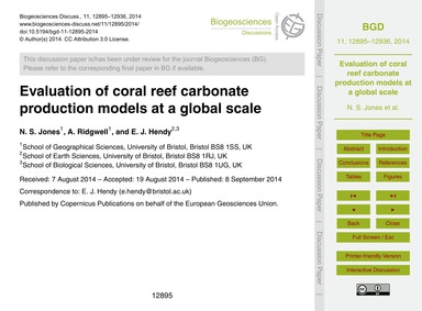 Evaluation of Coral Reef Carbonate Produ... by Jones, N. S.