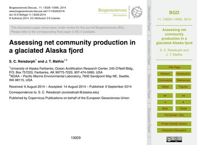 Assessing Net Community Production in a ... by Reisdorph, S. C.