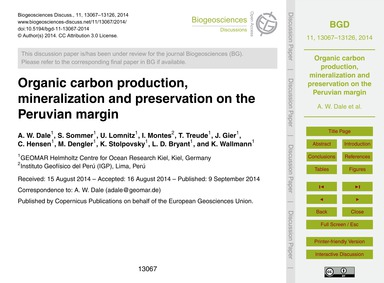 Organic Carbon Production, Mineralizatio... by Dale, A. W.